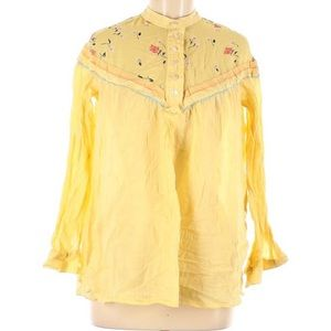 Free People Womens Blouse Medium Yellow Floral